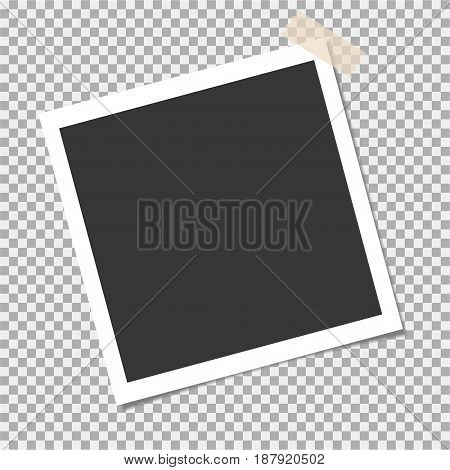 Photo Frame With Adhesive, Sticky Tape On Isolate Background. Blank For Your Cute Photo Or Image
