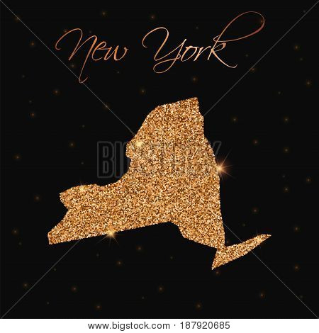 New York State Map Filled With Golden Glitter. Luxurious Design Element, Vector Illustration.