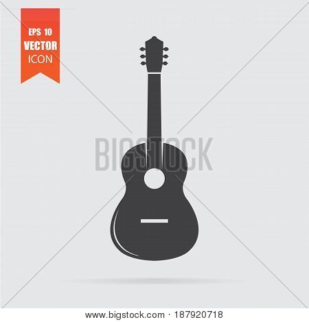 Guitar Icon In Flat Style Isolated On Grey Background.