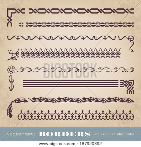 Calligraphic frames and borders with corner elements - vector set
