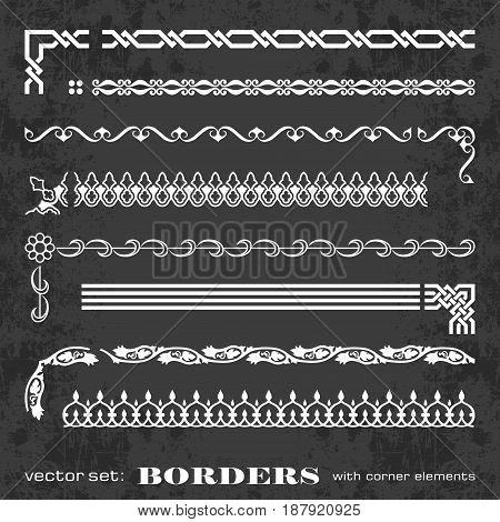 Calligraphic frames and borders with corner elements on a chalkboard background - vector set