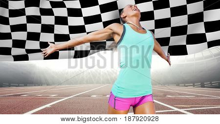 Digital composite of Female runner on track against flares and checkered flag