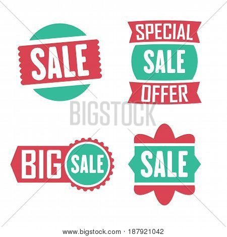 Season Sale Badges And Tags Design Vector Set For Banners, Promotional Brochures, Discount Posters,