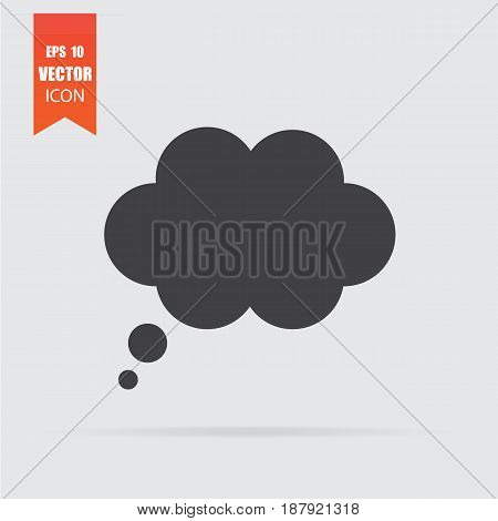 Speech bubble icon in flat style isolated on grey background. For your design logo. Vector illustration.