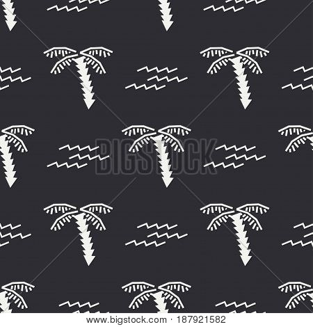 Flat monochrome vector seamless summer pattern. Fabric textile summer pattern. Cute doodle summer pattern with palm tree and waves. Vector illustration and element for your design.