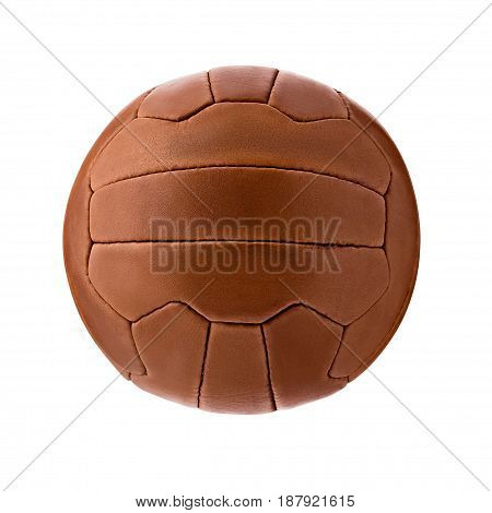 Leather soccer ball, isolated on white background