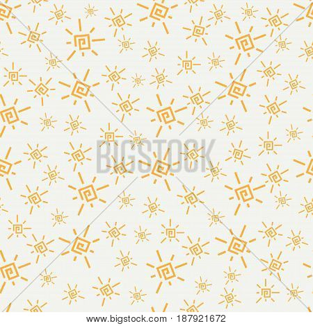 Flat color vector seamless summer sun pattern. Fabric textile summer pattern. Cute doodle summer pattern with sun. Vector illustration and element for your design.