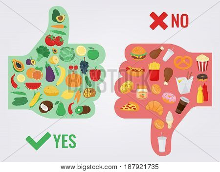 Healthy Lifestyle concept. We are what we eat. Vector illustration