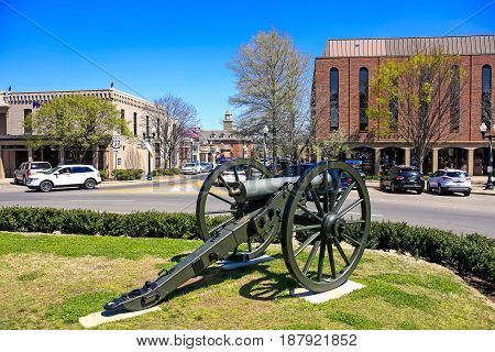 Franklin, TN, USA - 04/04/2016: Civil war canon on the Square in Franklin Tennessee