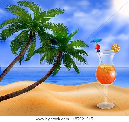 Exotic cocktail on a beach background with fruit vector