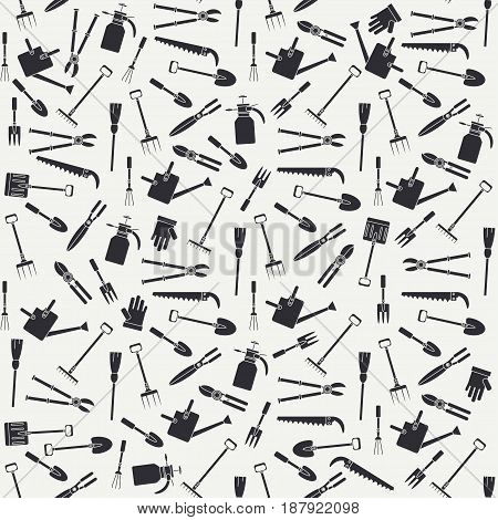 Seamless flat pattern with garden tools icons. Vector illustration. Elements for design. Garden hand work tools collection. Graphic texture for design , wallpaper. Silhouette garden tools pattern.