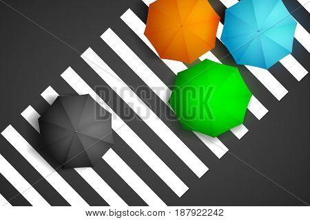 Bird eye view of colorful umbrella and black umbrella on a pedestrian crosswalk. (3D Illustration)