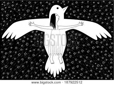 girl and bird flying in the night sky, black and white image, horizontal