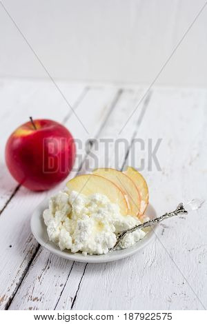 Cottage Cheese, Honey And Apple On A Plate