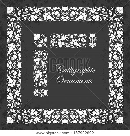 Decorative calligraphic ornaments, corners, borders and frames on a chalkboard background - for page