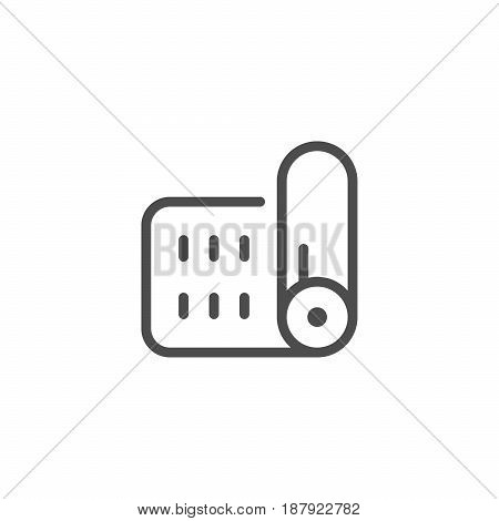Mat line icon isolated on white. Vector illustration