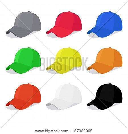 Flat caps set with different colors. Vector illustration isolated on white background