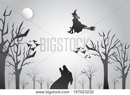 Young witch flying on broom with wolf silhouette Halloween background concept paper art style illustration