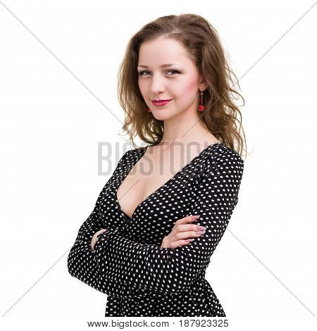 portrait of beautiful coquette young woman, isolated on white background