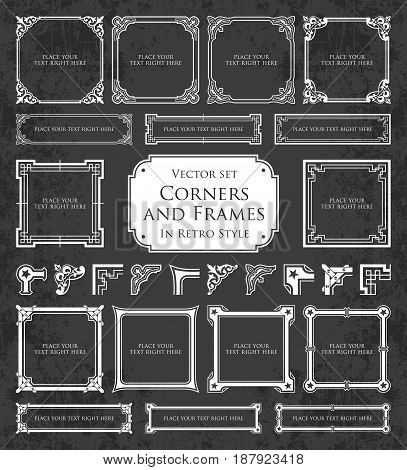 Retro frames, corners and calligraphic design elements on a chalkboard background