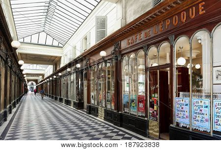 PARIS, FRANCE - MAY 16, , 2017: Galerie Vero Dodat near Palais-Royal. Galerie Vero Dodat is one of the 150 passageways and galleries that were opened in Paris in the mid 19th century.