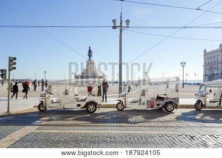 Lisbon, Portugal - January 11, 2017: Typical,Tramway on January 11,2017. Beautiful Tramway in  Lisbon, Portugal, Europe