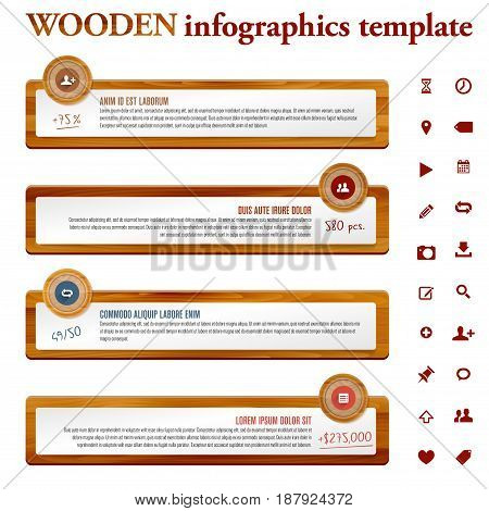 Infographics template with wooden and paper frames - place for your icons and messages. Vector illustration.
