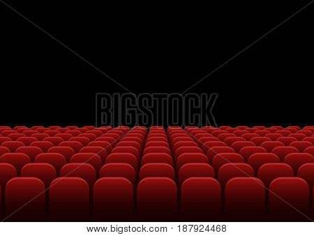 Rows of red velvet seats. Cinema or theatre hall
