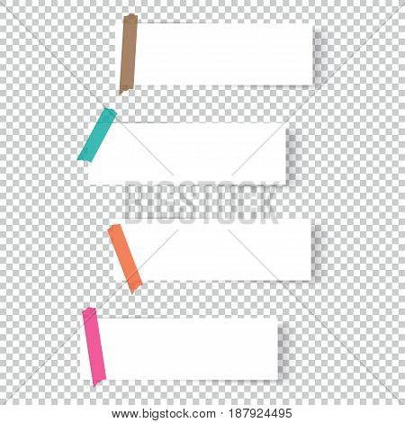 Collection of office paper sheets or sticky stickers with shadow.