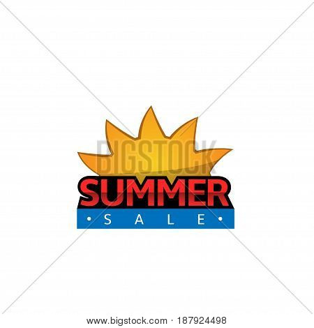 Summer sale label, shopping and promotion concept. Orange Sun icon