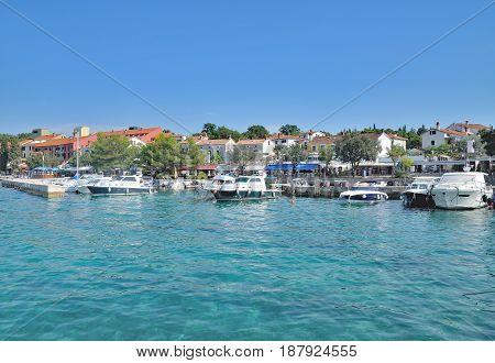 Promenade of Njivice on Krk island at adriatic Sea,Croatia