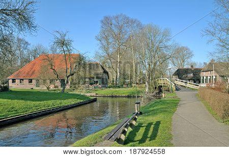 car-free Village of Giethoorn in Overijssel Province,Netherlands