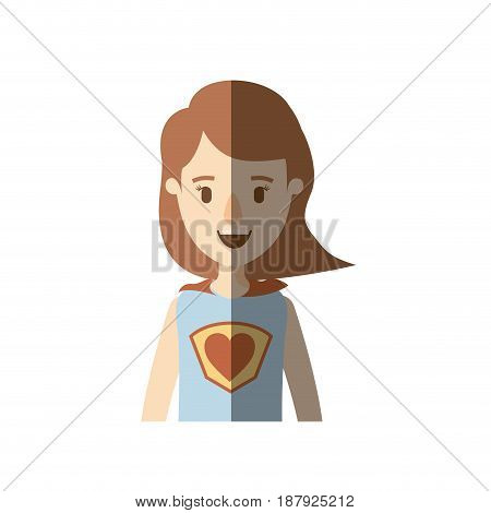 light color shading caricature half body super woman with short hair vector illustration