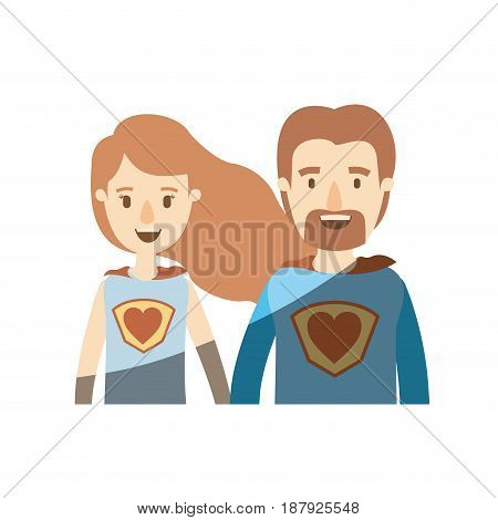 light color shading caricature half body couple super hero with heart symbol in uniform vector illustration