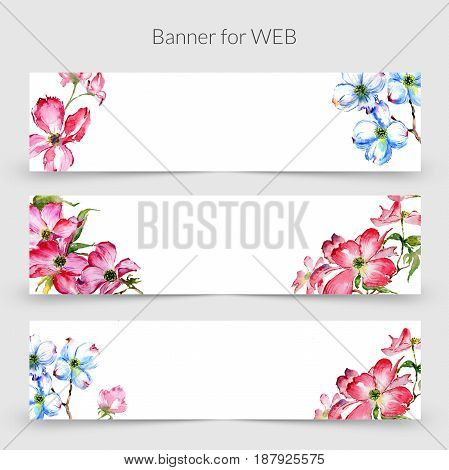 Wildflower dogwood promo sale banner template in a watercolor style isolated. Aquarelle wildflower dogwood
