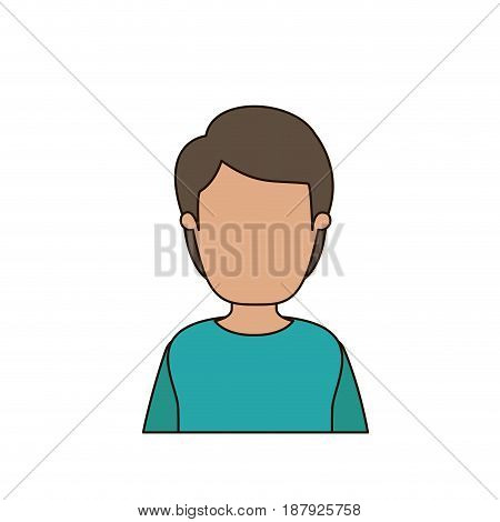 colorful caricature faceless front view half body young man with hairstyle vector illustration