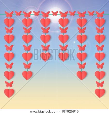 Happy Valentines day background with hanging garlands of hearts and butterflies. Paper elements on sky with flares. Vector illustration