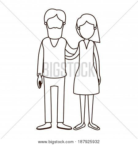 sketch contour full body woman with wavy short hair in skirt and man embracing couple vector illustration