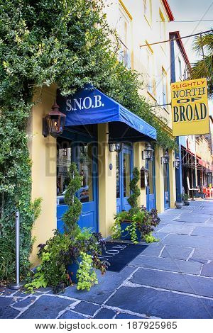 Charleston, SC, USA - 09/09/2016: S.N.O.B. - Slightly North of Broadway Restaurant on E. Bay Street in Charleston SC