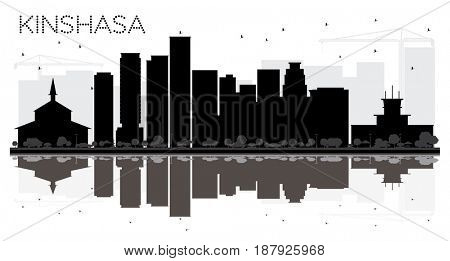 Kinshasa City skyline black and white silhouette with reflections. Simple flat concept for tourism presentation, banner, placard or web site. Cityscape with landmarks.