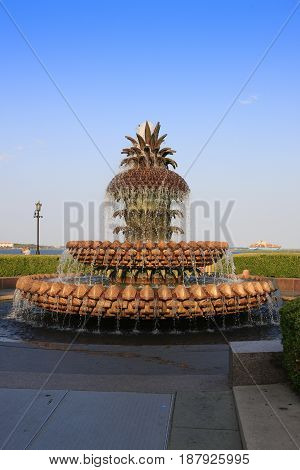 Charleston, SC, USA - 09/09/2016: The Pineapple fountain in the Waterfront Park in Charleston SC