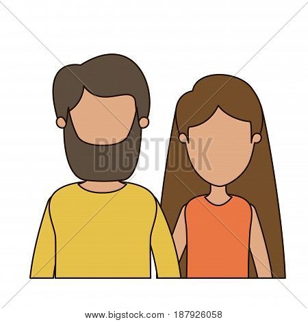 colorful caricature faceless front view half body couple woman with long hair and bearded man vector illustration