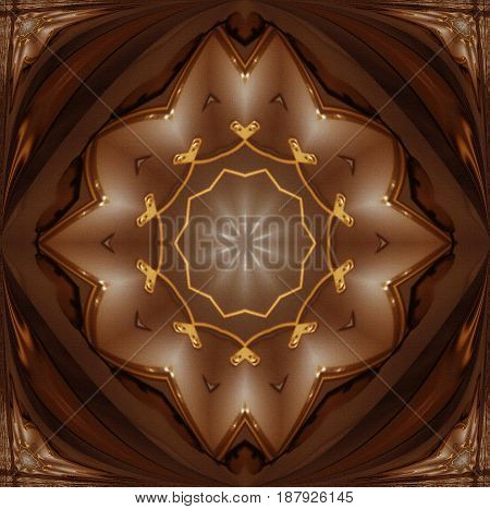 Creative background with cocoa color with gold trim