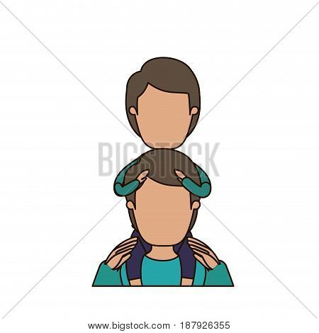 colorful caricature faceless front view half body young father with boy on his back vector illustration