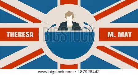 United Kingdom - April, 2017: A illustration of a woman icon and the Prime Minister of the United Kingdom Theresa May name. Flag of the Great Britain on backdrop