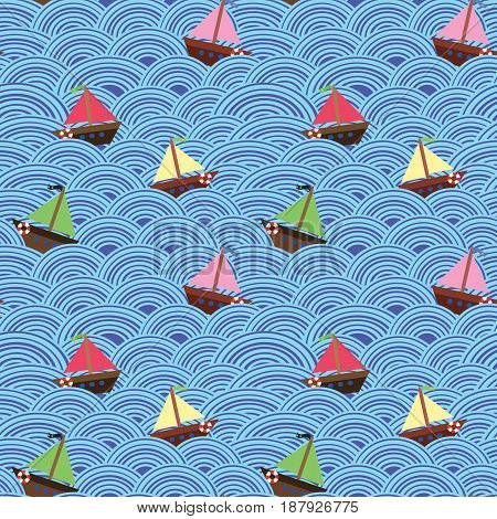 Ships with different colors of the sails in the stormy sea. Blue wave. Seamless vector pattern