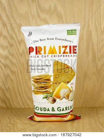 RIVER FALLS,WISCONSIN-MAY 20,2017: A bag of Primizie brand crispbreads with a wood background.