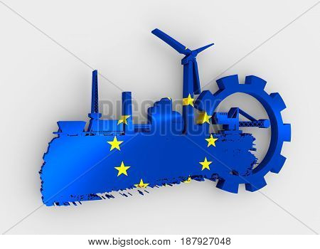 Energy and Power icons set and grunge brush stroke. Energy generation and heavy industry relative image. Flag of the European Union. 3D rendering
