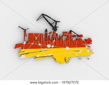 Energy and Power icons set and grunge brush stroke. Energy generation and heavy industry relative image. Flag of the Germany. 3D rendering