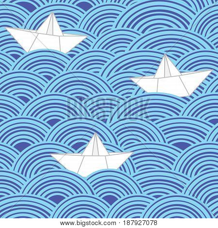 Paper boats in blue sea waves. Seamless vector pattern